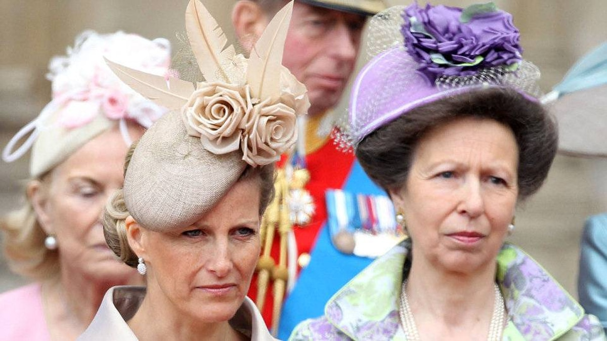 Sophie, Countess of Wessex and Princess Anne, The Princess Royal following the marriage of Prince William, Duke of Cambridge and Catherine, Duchess of Cambridge at Westminster Abbey on April 29, 2011 in London, England.