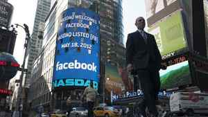 A monitor shows a welcoming message for Facebook's listing on the NASDAQ Marketsite prior to the opening bell in New York May 18, 2012.