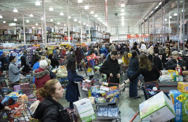 Image result for images of crowded supermarket amid coronavirus fear in the U.S