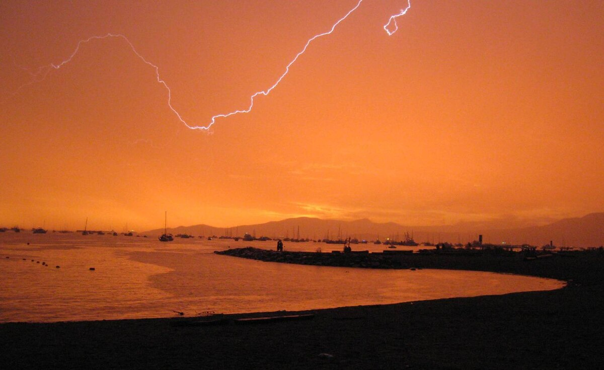 Moana Fertig sent us this photo of a lightning storm just before a fireworks show in Vancouver's English Bay.