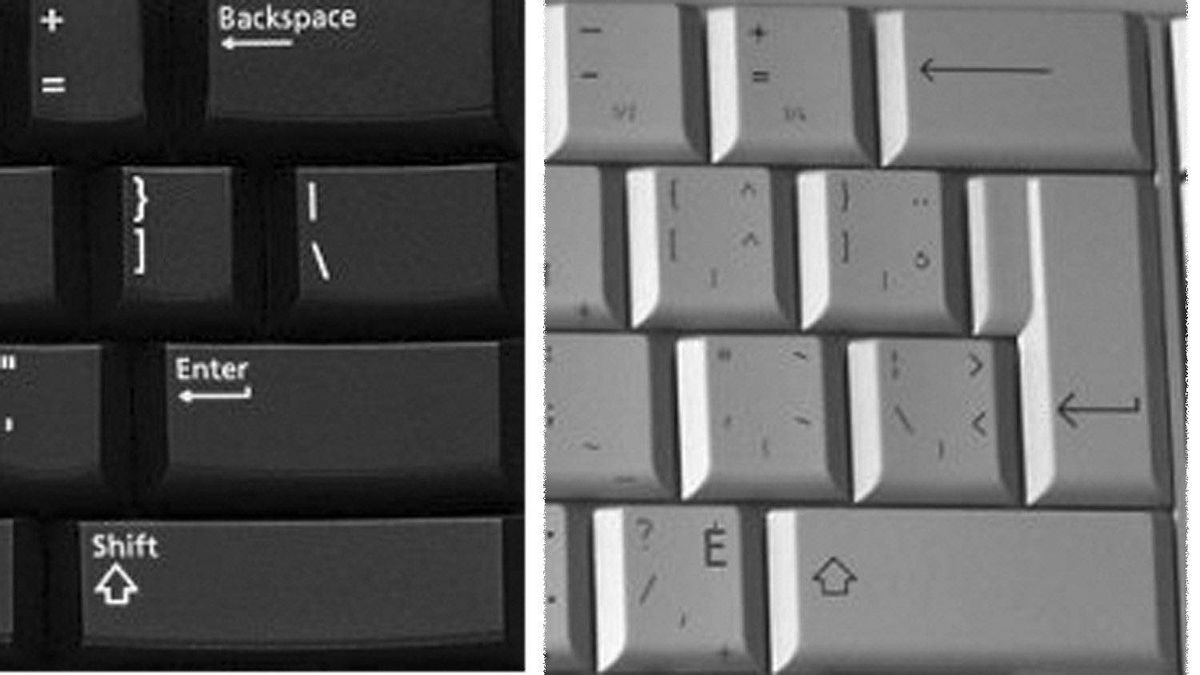 The U.S. English keyboard on the left, and corresponding area of the multilingual on the right.