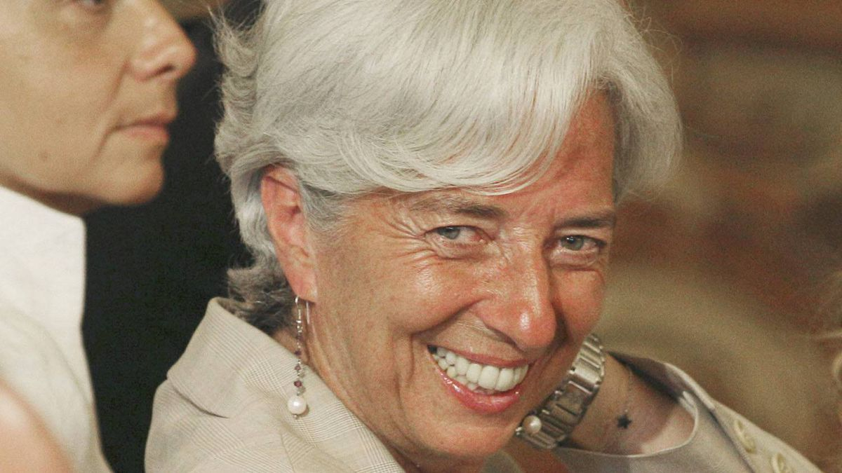 France's Finance Minister Christine Lagarde, smiles during a press conference of France's President Nicolas Sarkozy at the Elysee Palace, Monday, June 27, 2011.