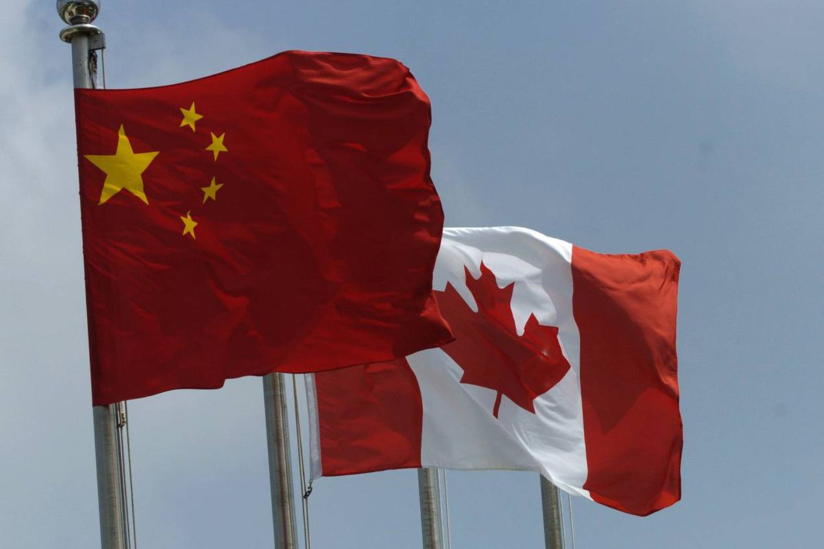 Chinese and Canadian flags