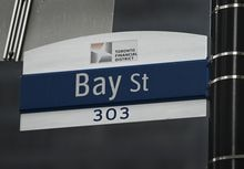 A street sign along Bay Street in Toronto's financial district during the COVID-19 pandemic in Toronto on Tuesday, January 12, 2021. VerticalScope Holdings Inc. says it has priced its subordinate-voting shares at $22 per share in its initial public offering. THE CANADIAN PRESS/Nathan Denette