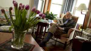 Modris Eksteins reading in his armchair in his Toronto home on March 7, 2012.