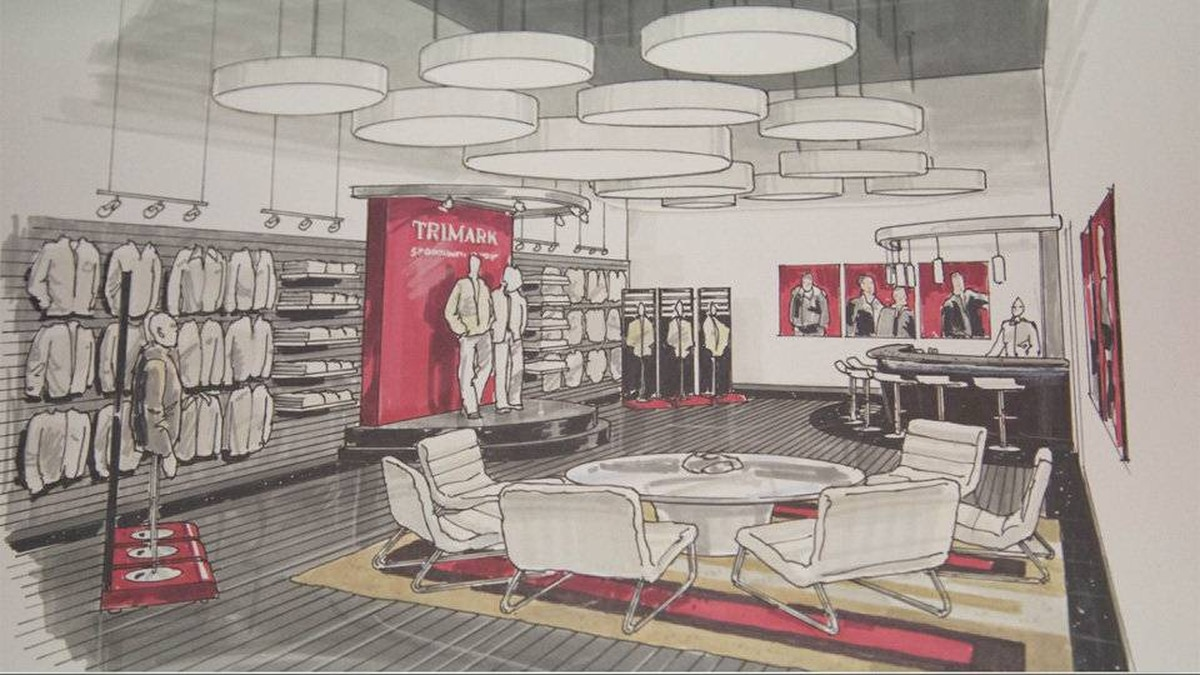 Design for the new showroom at Trimark Sportswear.