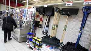Shovels and snow salt are on display at the Canadian Tire in downtown Toronto on Feb. 6, 2012.