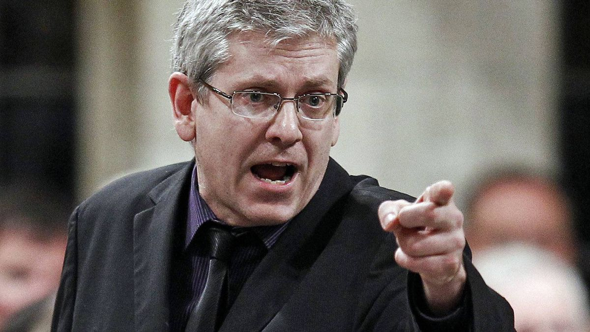 New Democratic Party MP Charlie Angus speaks during Question Period in the House of Commons on Feb. 14, 2012.