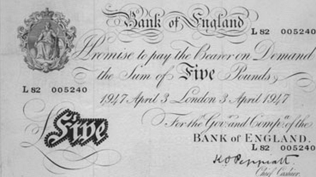 This £5 note was issued in 1947. Known as a 'White Fiver,' this note's design had remained essentially unchanged since being introduced in 1793.
