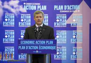 Prime Minister Stephen Harper speaks at the opening of a research centre in Guelph, Ont., on Sept. 21, 2009.