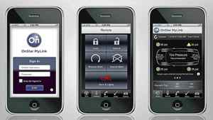 Through OnStar's unique connection to the vehicle, the OnStar MyLink app can send remote vehicle commands such as unlocking or locking the doors, and access key diagnostic information, including fuel tank level and range, and current and recommended tire pressure. X10CO_AT027 (11/01/2010)