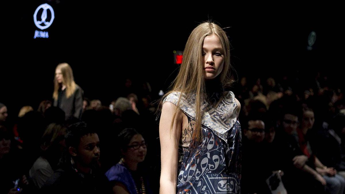 A model shows a creation during the JUMA show at Toronto Fashion Week on Monday March 28, 2011.