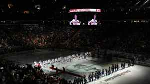 Team Staal and Team Lidstrom line up for the Canadian and United States national anthems prior to in the 58th NHL All-Star Game at RBC Center on January 30, 2011 in Raleigh, North Carolina. (Photo by Harry How/Getty Images)