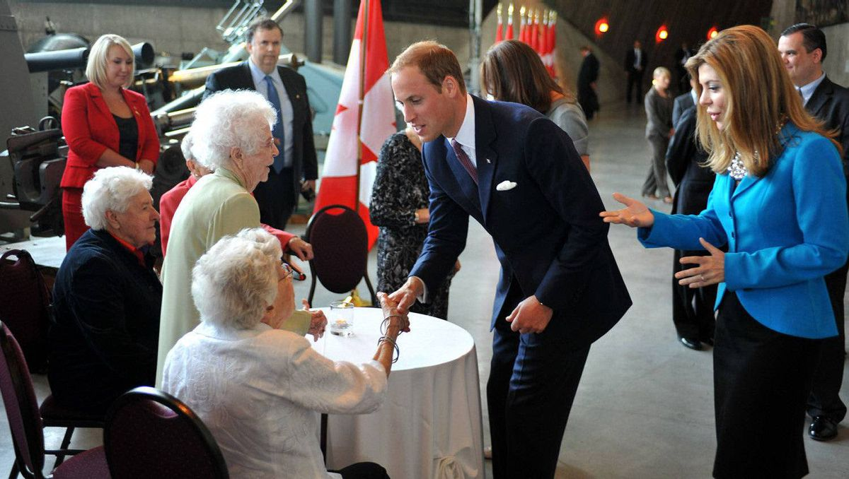 Prince William, Duke of Cambridge meets former nurses, who served during World War II, at the Canadian War Museum on July 2, 2011 in Ottawa, Canada.
