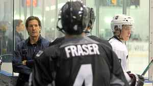 Brendan Shanahan looks on as players hit the ice during the NHL Research Development and Orientation Camp held at the Mastercard Centre on Aug. 18, 2011 in Etobicoke, Ont.