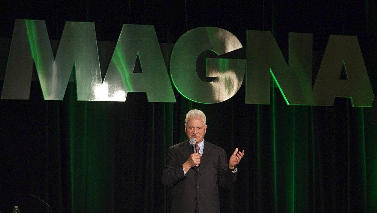Magna International Inc. chairman Frank Stronach speaks at the company's annual shareholders' meeting in this May 4, 2011, file photo.