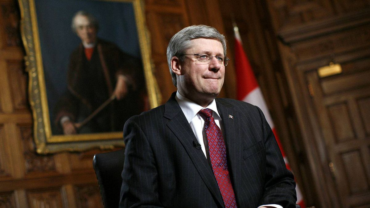 Canada's Prime Minister Stephen Harper waits for the start of an interview with Reuters in his office on Parliament Hill in Ottawa February 3, 2012.