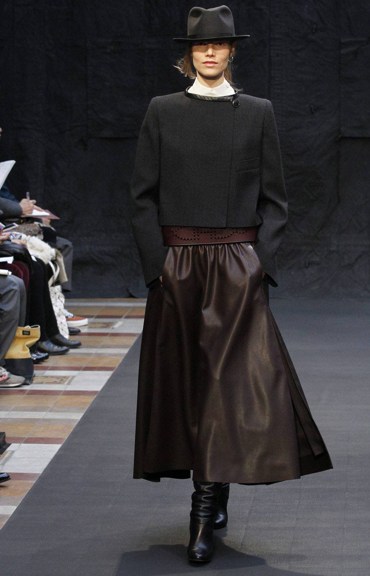 Hermès declares a theme each year. For 2012, it's The Gift of Time, which is widely open to interpretation as it relates to fashion. Then again, designer Christophe Lemaire did an excellent job of conveying timelessness. White shirts – with collars or with raised rounded necklines – appeared frequently.