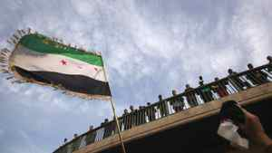 A demonstrator waves a Syrian flag during a protest against Syria's President Bashar al-Assad, upon the meeting of the Arab Foreign ministers in Cairo February 12, 2012.