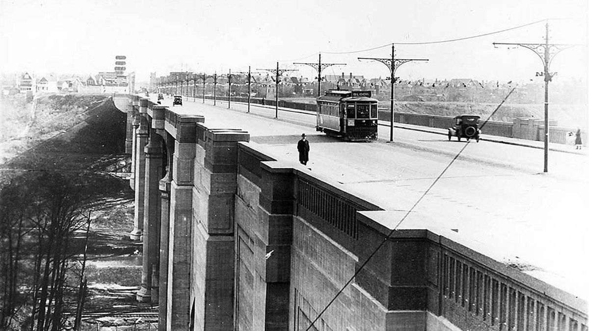 The Prince Edward Viaduct looking east to Broadview Avenue, circa 1920.