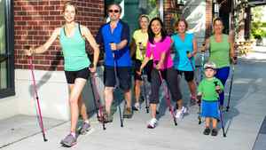 Nordic pole walking exercises the upper body with the use of modified ski poles.