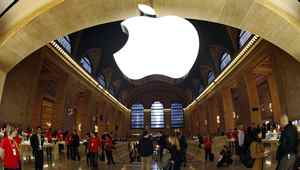 The Apple Inc. logo hangs inside the Apple Store in New York City's Grand Central Station.