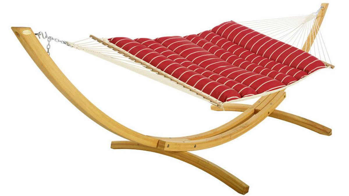 Swing shift You can keep your rope hammocks: Hatteras Hammocks' ultra-comfortable Pillowtop model with sustainably harvested cumaru-wood spreader bars evoking a grounded galleon is the ne plus ultra of swinging beds. $249.99 (U.S.) plus shipping.