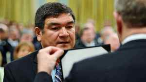 Former Innu leader Peter Penashue is sworn in as Intergovernmental Affairs Minister at Rideau Hall on May 18, 2011.