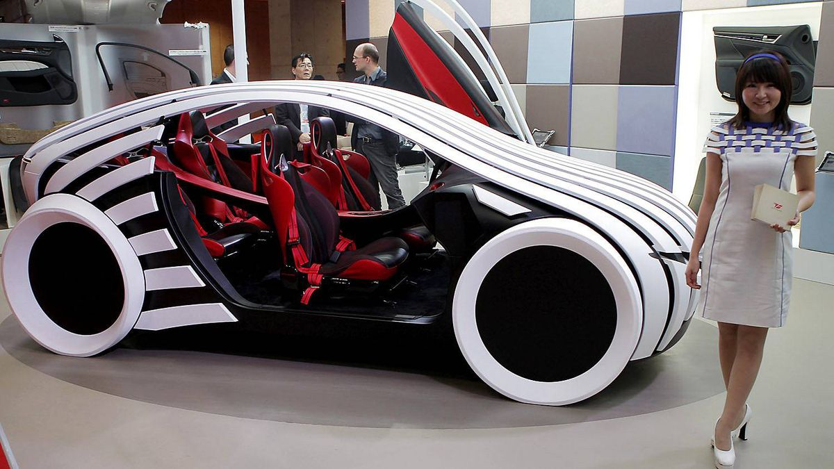 "Toyota Boshoku Corp.'s car interior space concept ""T-Brain"" is displayed during the press preview of Tokyo Motor Show in Tokyo, Wednesday, Nov. 30, 2011."