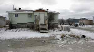 Standing water is common in the ditches of Attawapiskat.