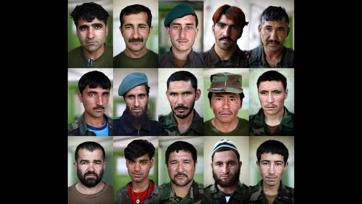 A combination picture shows Afghan National Army (ANA) soldiers posing for portraits at their compound at Panjwai district in Kandahar, June 1, 2009.