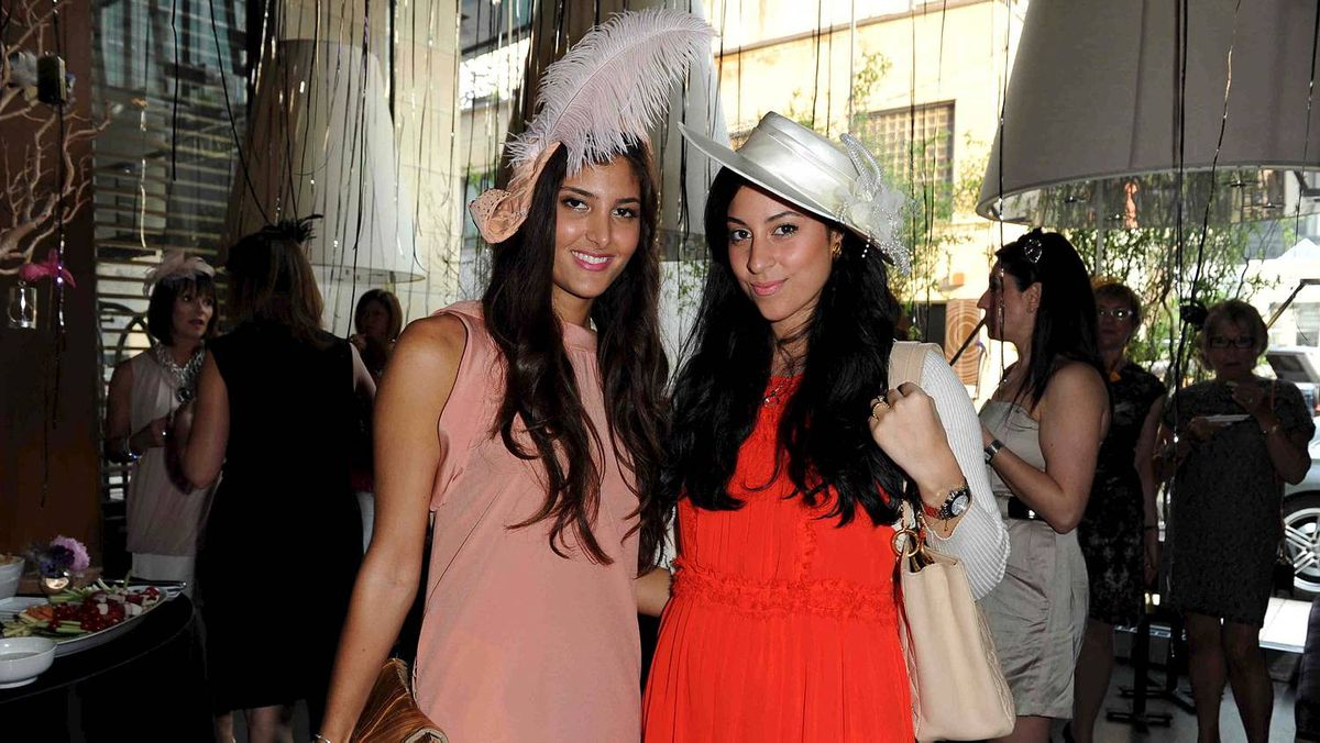 Paris Golab and Dina Bahgat at Fascinator Frenzy
