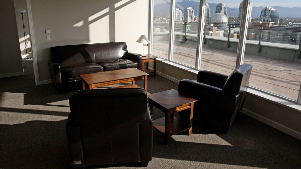 A sitting area is pictured in one of the suites at the athletes' village for the Vancouver 2010 Winter Olympic Games as construction continues in Vancouver, B.C., on Friday October 9, 2009.