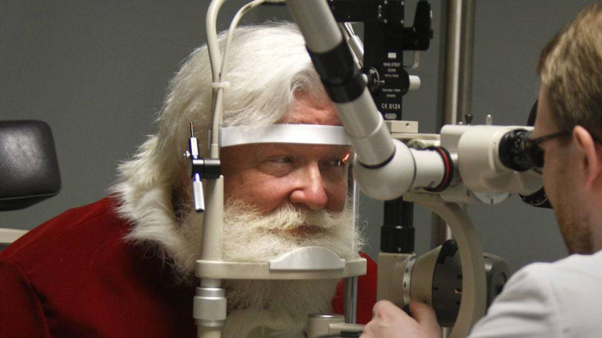Santa gets an eye exam at the Southern College of Optometry in Memphis, Tenn.
