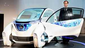 Honda's Micro Commuter concept vehicle, on display at the Tokyo Motor Show.