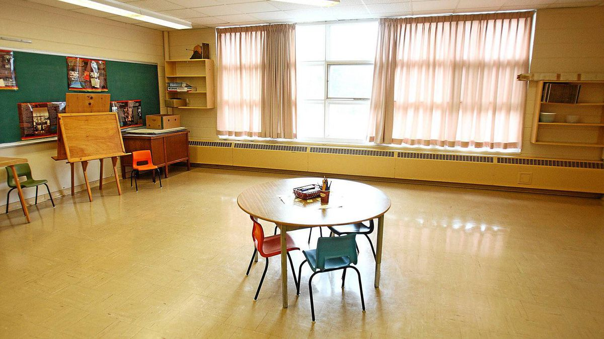 A former classroom at the Newport Station District school in Newport Station, N.S., April 5, 2012.