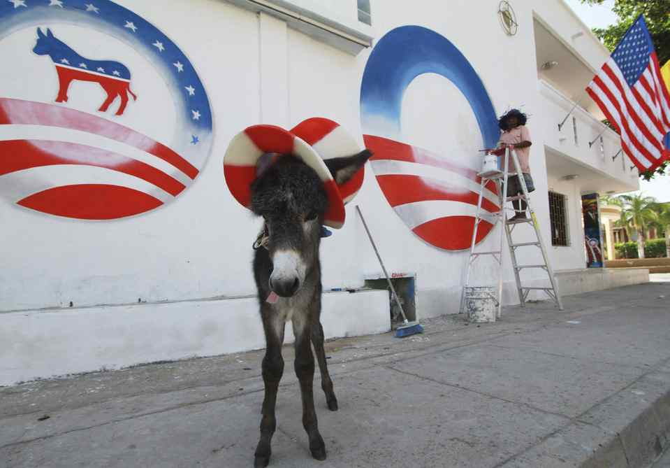 A donkey foal named Demo by its owner, Silvio Carrasquilla, stands dressed as the mascot of the U.S. Democratic Party as a worker paints Carrasquilla's house to welcome President Barack Obama to the VI America's Summit to be held in Cartagena, in Turbaco, near Cartagena.