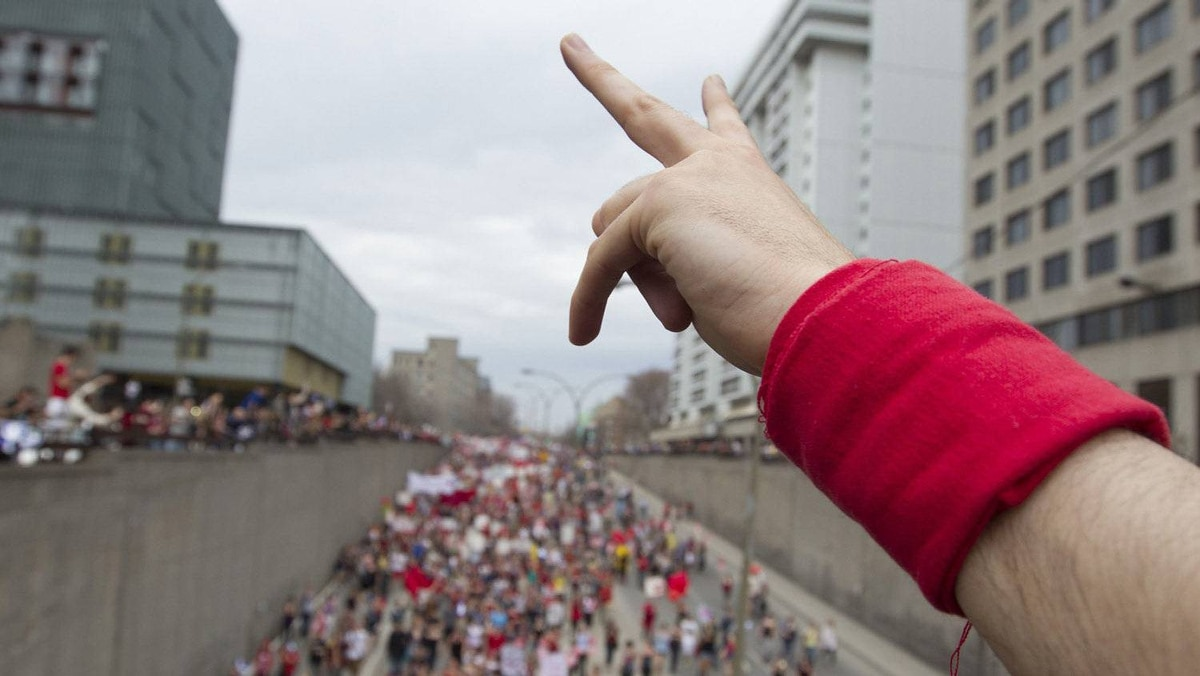 Thousands of students march as they protest against tuition hikes in downtown Montreal, Quebec, March 22, 2012.