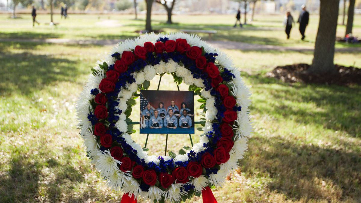 A wreath commemorating the seven astronauts who perished in the space shuttle Challenger accident rests in the Astronaut Memorial Tree Grove during the annual National Day of Remembrance ceremony at the Johnson Space Center on Jan. 27, 2011, in Houston.
