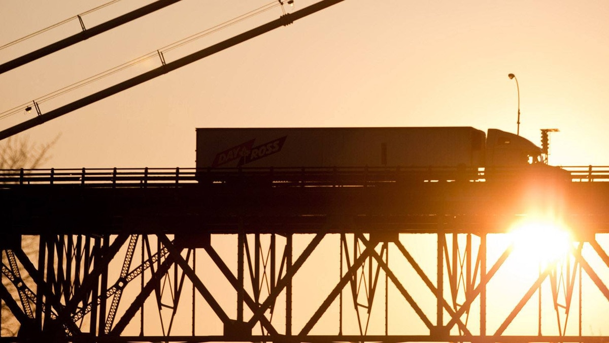 A truck crosses the Ambassador Bridge to Detroit from Windsor, Ont., in this file photo from 2011.