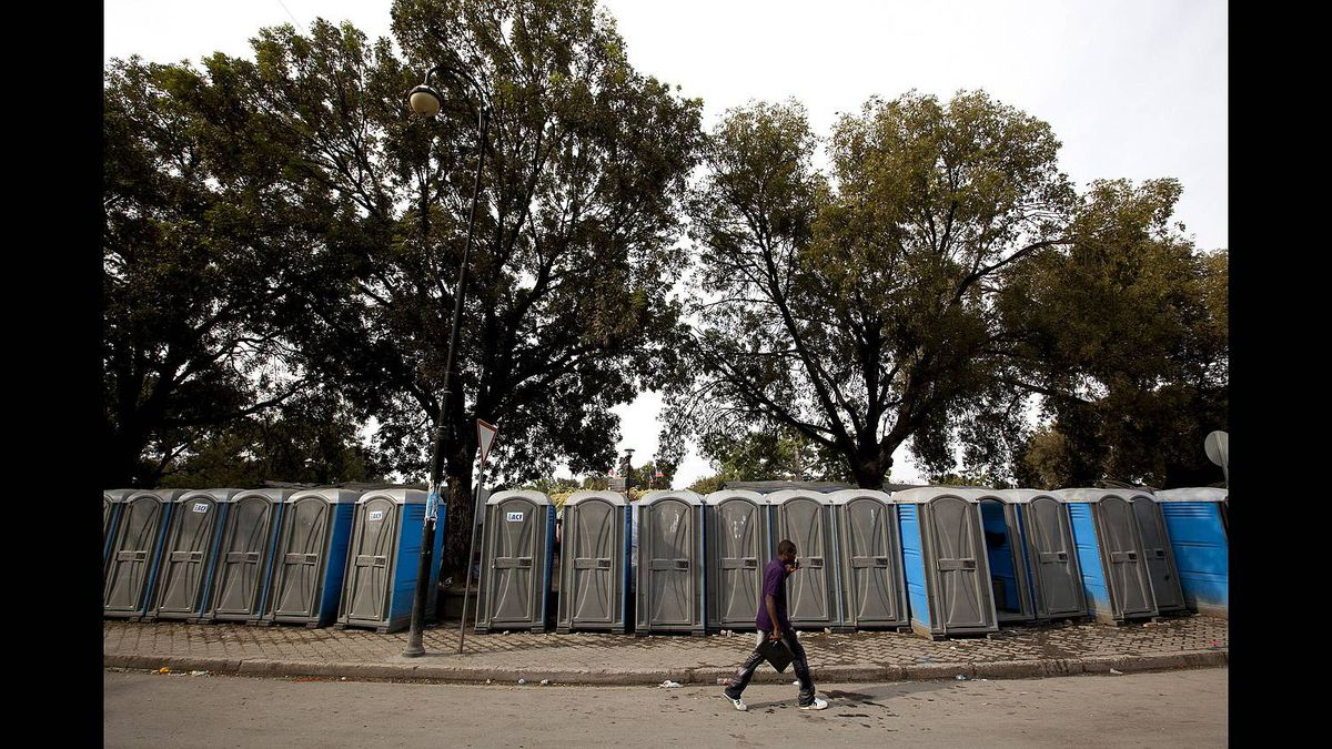 A line of well-used outdoor toilets line the streets in the Champ des Mars area for use by the residents of the displaced persons camps. Many women from the camps fear using the washroom at night because of the many rapes that have taken place there under the cover of darkness.