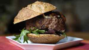 Lucy Waverman's Dijon-style hamburger with caramelized onions.