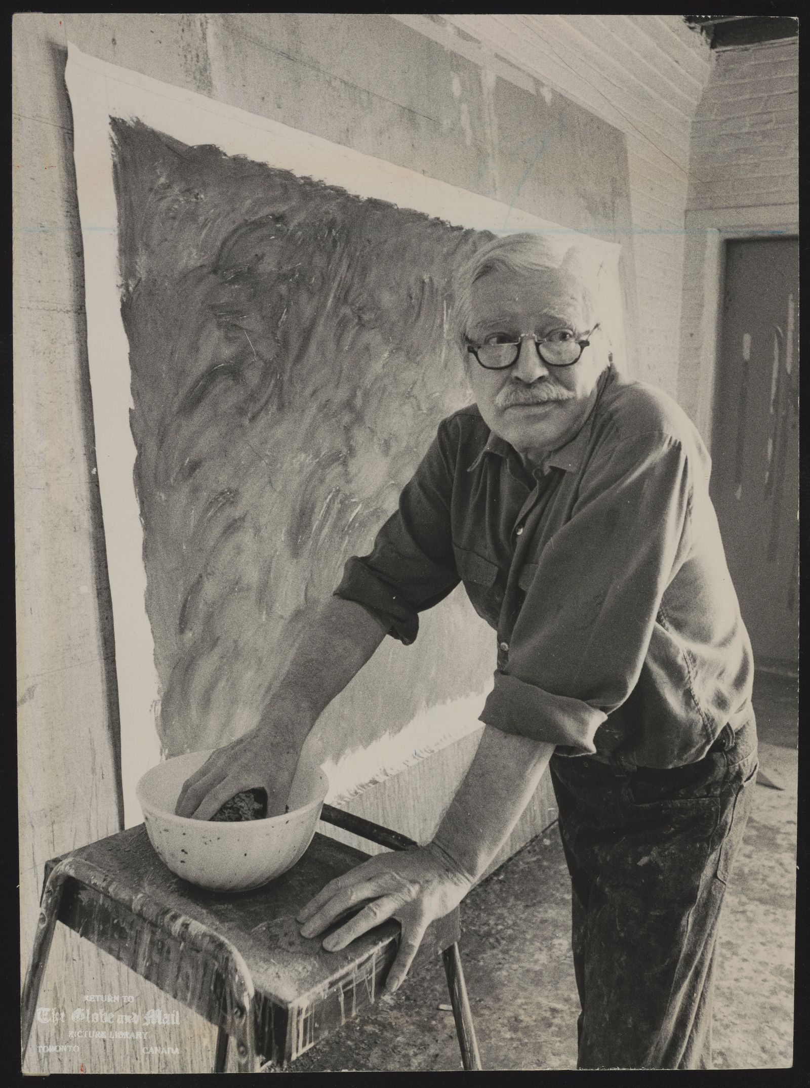 Jack BUSH Canada. Artist Jack Bush at work: work to be done lay in a frontier that knows no national boundaries.