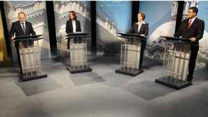 New Democratic Party Leader Brian Mason, Wildrose Alliance Leader Danielle Smith, Progressive Conservative Leader Alison Redford and Liberal Leader Raj Sherman take part in a televised debate in Edmonton ahead of Alberta's April 23 election.