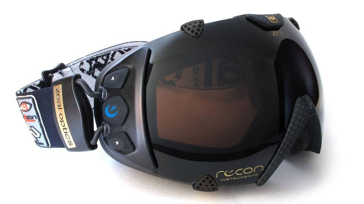 The digital dashboard is embedded in the goggles