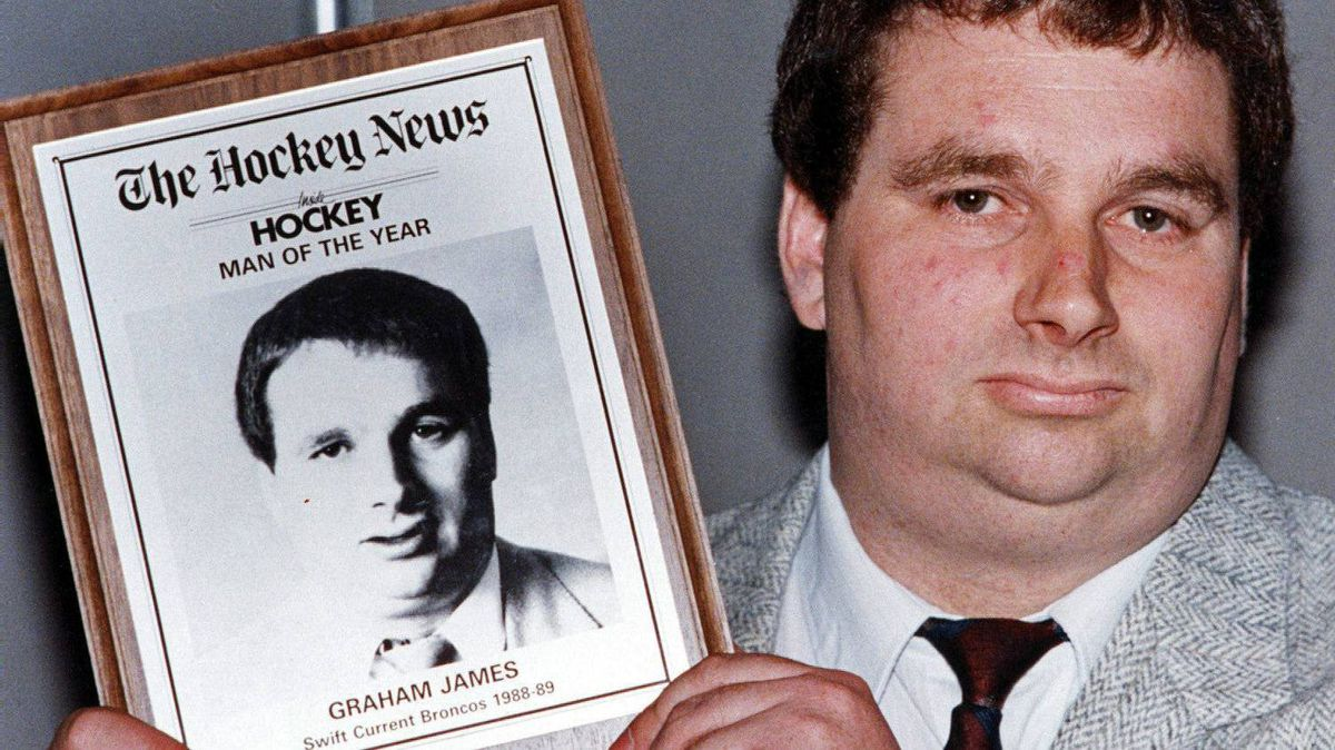 Convicted sex offender Graham James holds Hockey News man of the year award in Toronto in this June 8, 1989 file photo.