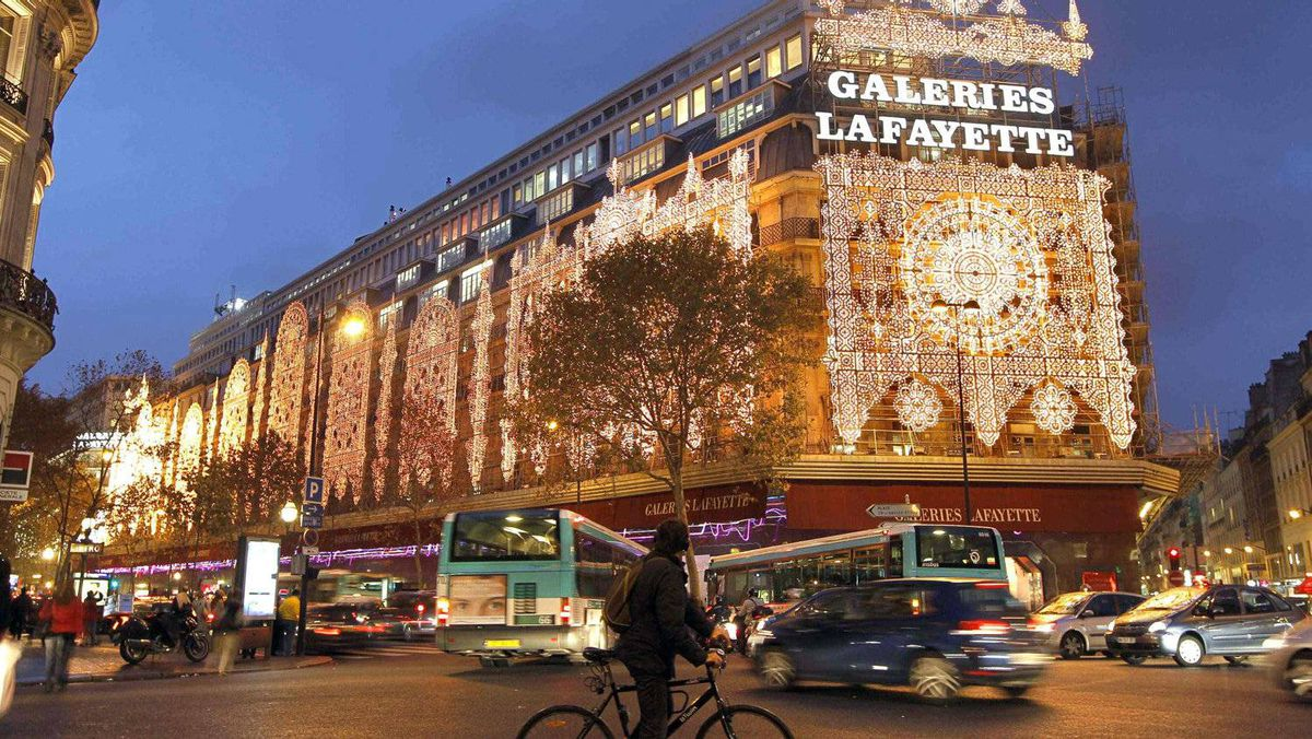 View of the Galeries Lafayette department store with Christmas lights in Paris November 8, 2011.