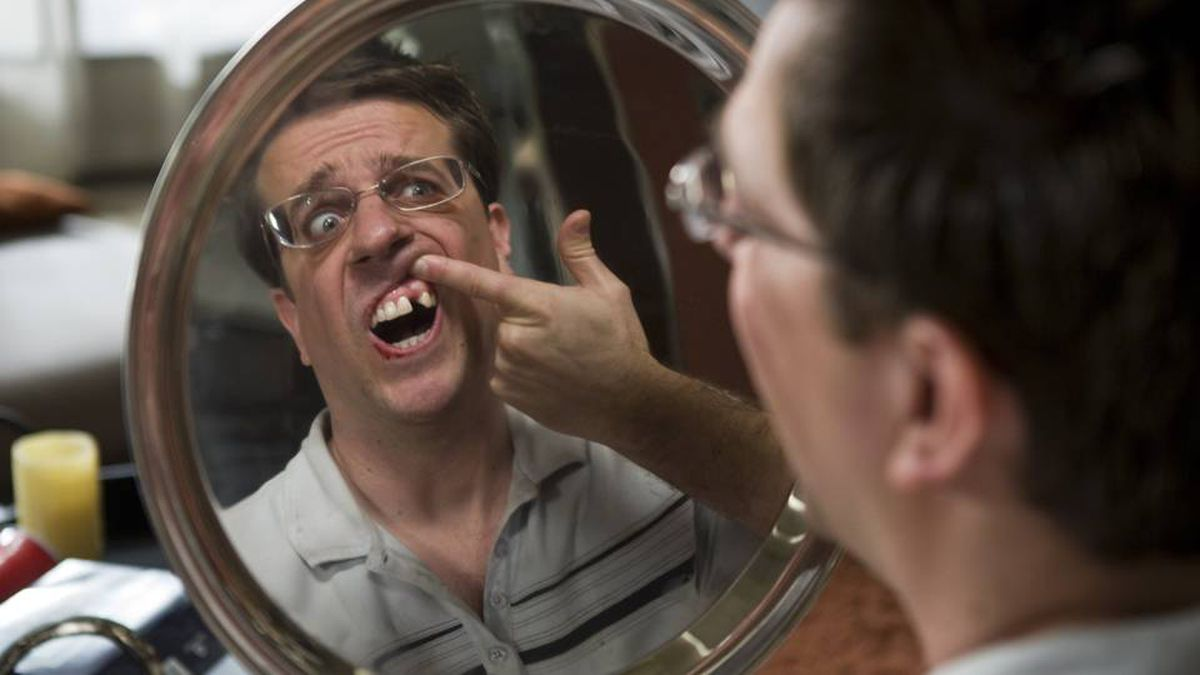 """Stu (ED HELMS) discovers he is missing a tooth in Warner Bros. Pictures' and Legendary Pictures' comedy """"The Hangover, """" a Warner Bros. Pictures release."""