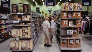 Customers browse a Liquidation World store in Brantford, Ont.