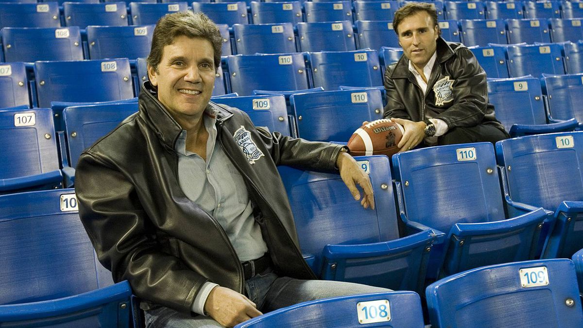 Toronto Argonaut owners Howard Sokolowski (left) and David Cynamon sit inside the Rogers Centre in Toronto on Saturday, November 3, 2007.